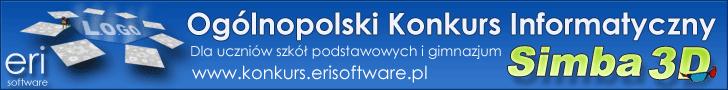 Ogólnopolski konkurs informatyczny          Simba 3D LOGO organizowany przez firmę ERI Software